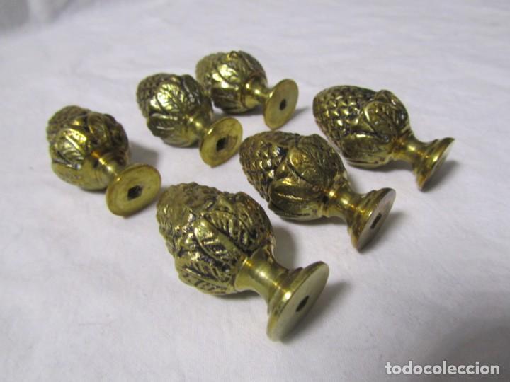 Antigüedades: 6 pomos remates de bronce en forma de piña - Foto 4 - 232499865