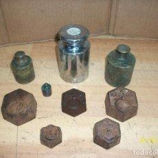Antigüedades: LOTE DE 9 PESAS. Lote 232733525