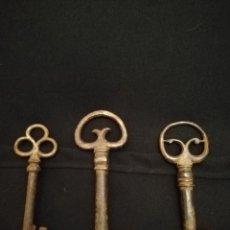 Antigüedades: 3 LLAVES DE HIERRO FORJADO S. XVII. Lote 232864795