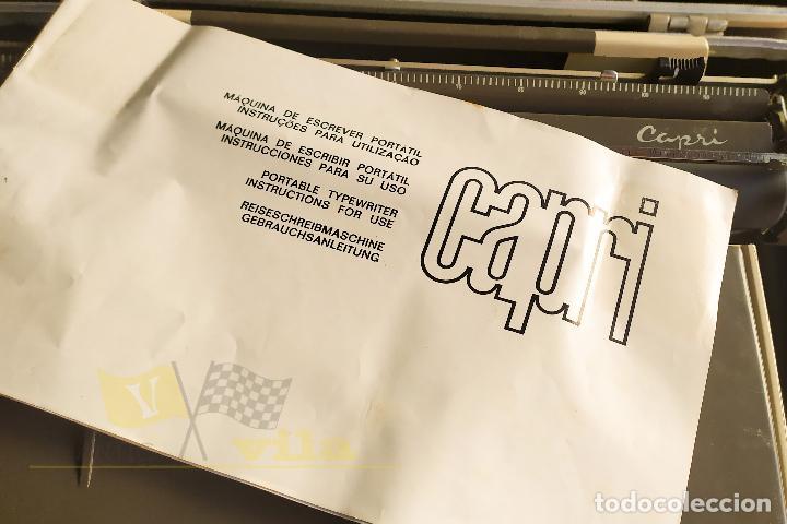 Antigüedades: Maquina de escribir portatil CAPRI - con maletin de transporte original y con llave - Foto 9 - 233255530