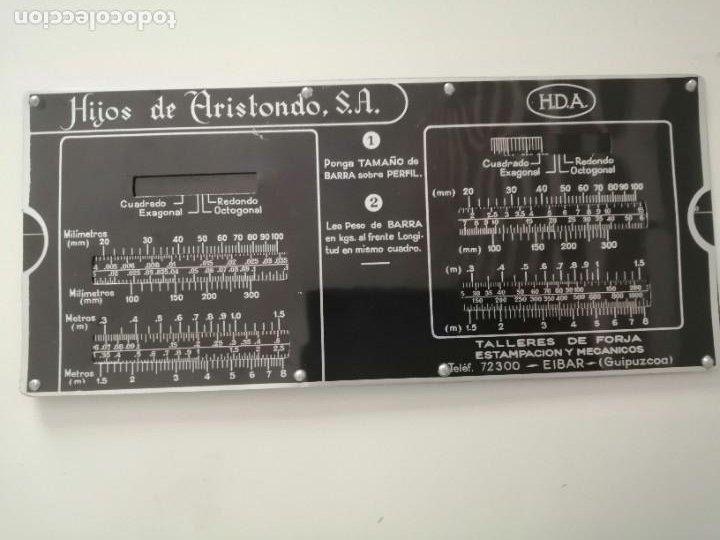REGLA DE CÁLCULO DE METAL HIJOS DE ARISTONDO TALLERES DE FORJA ESTAMPACIÓN Y MECÁNICOS EIBAR RARO (Antigüedades - Técnicas - Aparatos de Cálculo - Reglas de Cálculo Antiguas)