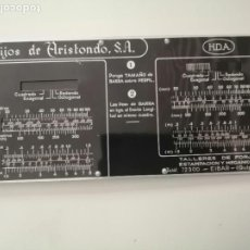 Antigüedades: REGLA DE CÁLCULO DE METAL HIJOS DE ARISTONDO TALLERES DE FORJA ESTAMPACIÓN Y MECÁNICOS EIBAR RARO. Lote 233376765