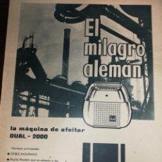 Antigüedades: (1951) MÁQUINA AFEITAR DUAL PUBLICIDAD, GRAN FORMATO DE PÁGINA 34 X 26 CM. Lote 233763350