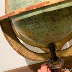 Antigüedades: GLOBO TERRAQUEO 1872 FIRMADO FAUSTINO PALUZIE ESFERA ARMILAR. Lote 234050925