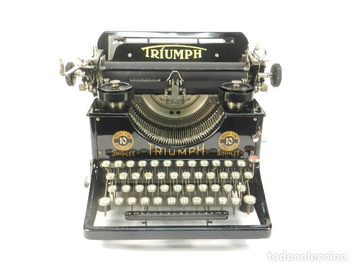 Antigüedades: MAQUINA DE ESCRIBIR TRIUMPH Nº10 SIMPLEX AÑO 1925 TYPEWRITER SCHREIBMASCHINE - Foto 2 - 234450480