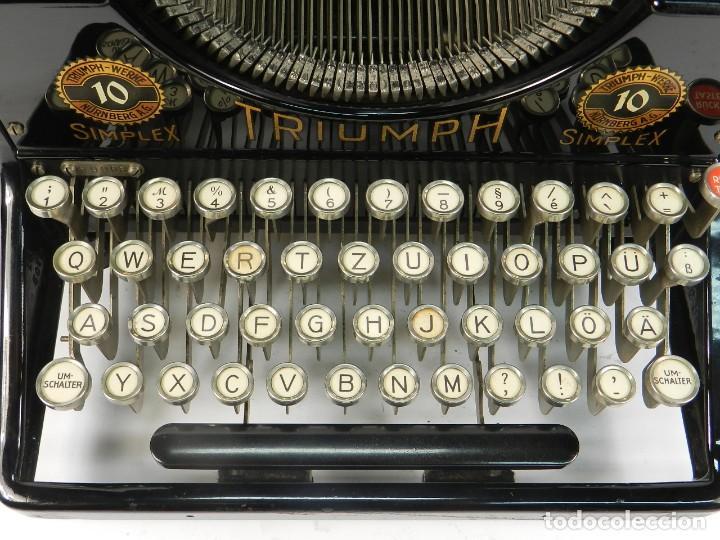 Antigüedades: MAQUINA DE ESCRIBIR TRIUMPH Nº10 SIMPLEX AÑO 1925 TYPEWRITER SCHREIBMASCHINE - Foto 5 - 234450480