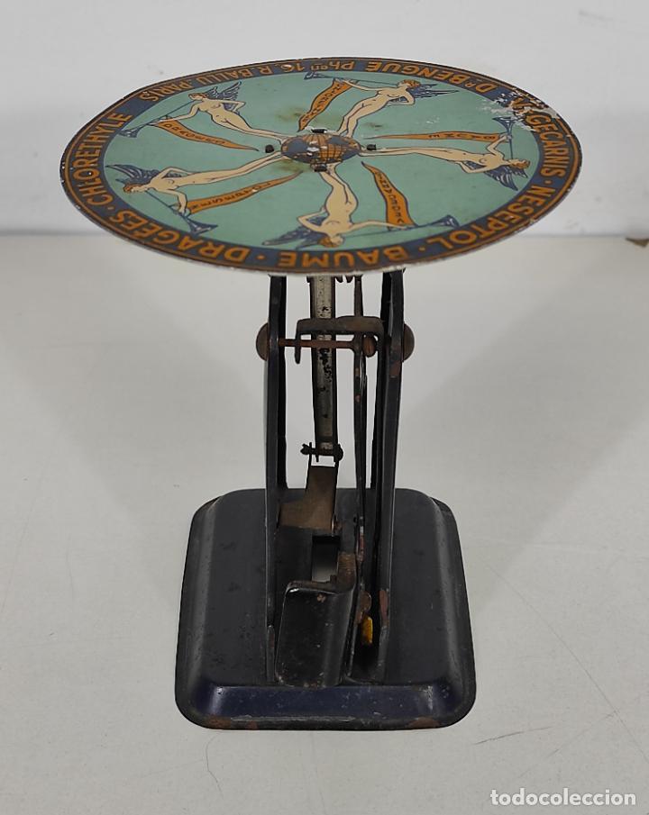 Antigüedades: Antigua Balanza para Cartas - Publicidad Farmacias, Dr Bengué, París - Bascula de Colección - Foto 8 - 234528785