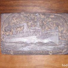 Antigüedades: ANTIGUA PLANCHA DE IMPRENTA, BARCO.. Lote 234545870