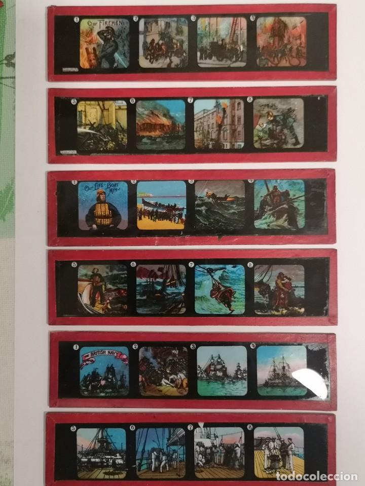 LOTE FORMADO POR SEIS PLACAS DE VIDRIO PARA LINTERNA MÁGICA (Antigüedades - Técnicas - Aparatos de Cine Antiguo - Linternas Mágicas Antiguas)
