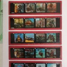 Antigüedades: LOTE FORMADO POR SEIS PLACAS DE VIDRIO PARA LINTERNA MÁGICA. Lote 234575440