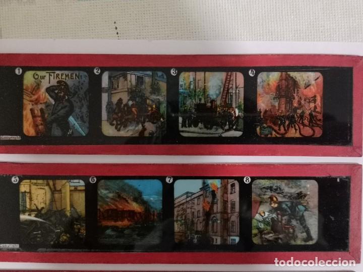 Antigüedades: Lote formado por seis placas de vidrio para linterna mágica - Foto 2 - 234575440