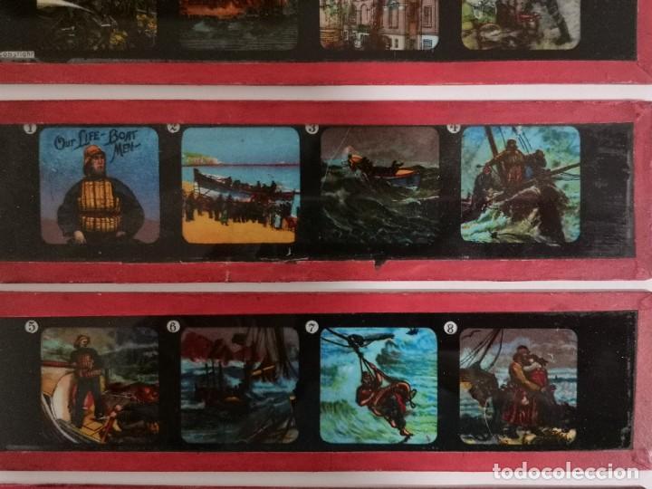 Antigüedades: Lote formado por seis placas de vidrio para linterna mágica - Foto 7 - 234575440