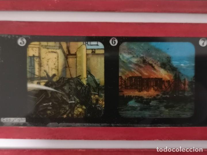 Antigüedades: Lote formado por seis placas de vidrio para linterna mágica - Foto 5 - 234575440