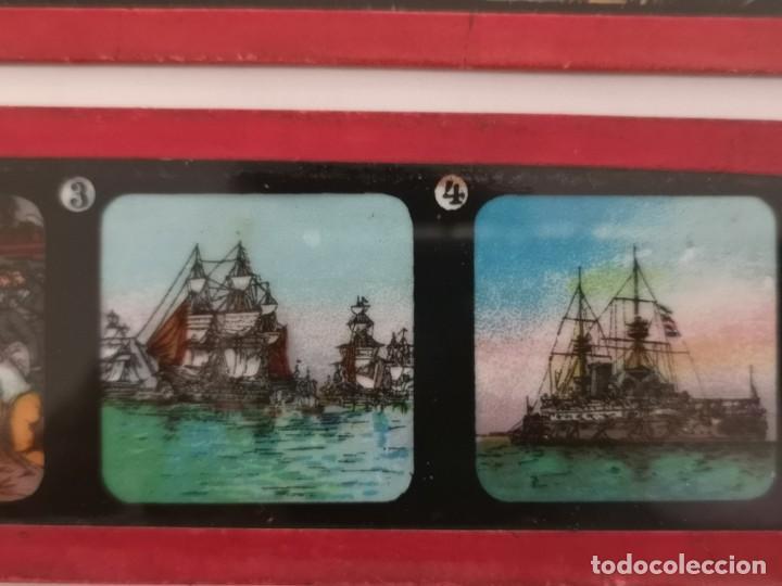 Antigüedades: Lote formado por seis placas de vidrio para linterna mágica - Foto 14 - 234575440