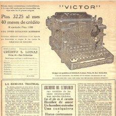 Antigüedades: 1923 HOJA REVISTA PUBLICIDAD ANUNCIO PRENSA MÁQUINA DE ESCRIBIR AMERICANA 'VICTOR'. Lote 235072215
