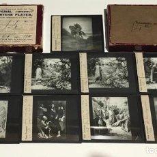 Antigüedades: 9 DIAPOSITIVAS EN CRISTAL PARA LINTERNA MÁGICA- NUEVO TESTAMENTO- PINTADAS A MANO. Lote 235201715
