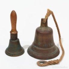 Antigüedades: PAREJA DE CAMPANAS, APARENTE ORIGEN NAVAL.. Lote 235215855