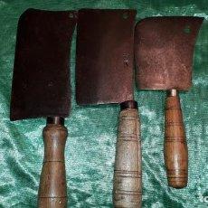 Antiquités: LOTE DE 3 HACHAS DE CARNICERO. Lote 235441190