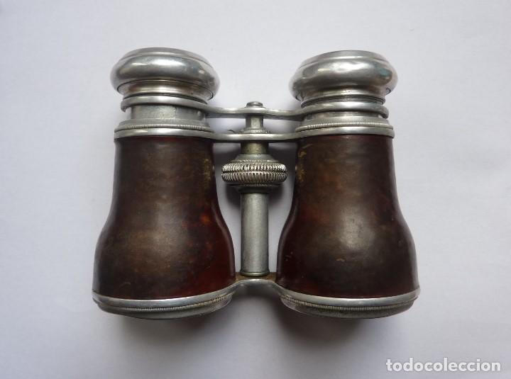 Antigüedades: Antiguos binoculares / prismáticos de ópera. Con funda de piel. Óptico de Viena (Austria) - Foto 3 - 235560690