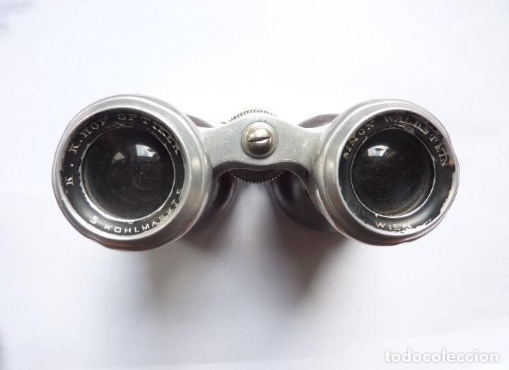 Antigüedades: Antiguos binoculares / prismáticos de ópera. Con funda de piel. Óptico de Viena (Austria) - Foto 4 - 235560690
