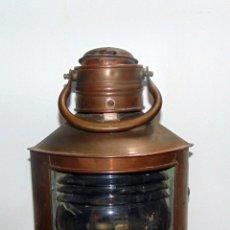 Antigüedades: ANTIGUO FAROL DE BARCO ANTIGUO, COMPLETO, BUEN ESTADO GENERAL , COBRE 34 CM, CON ASA. Lote 235676340