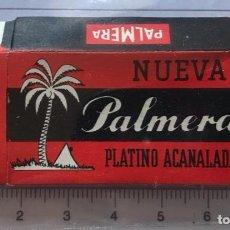 Antigüedades: CA CU 9 CAJA VACÍA Y CUCHILLA DE AFEITAR NUEVA PALMERA PLATINO ACANALADA MODELO 9 HOJA. Lote 235704925