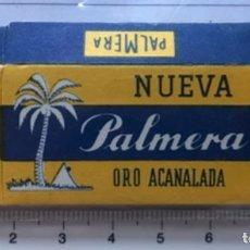 Antigüedades: CA CU 13 CAJA Y CUCHILLA DE AFEITAR NUEVA PALMERA ORO ACANALADA MODELO 13 HOJA. Lote 235718045