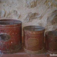 Antigüedades: LOTE 3 MEDIDORES, DOBLE DECALITRO, DECALITRO Y MEDIO DECALITRO. G. BERTRAN. BARCELONA. Lote 235724375