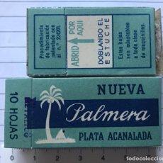 Antigüedades: CA CU 16 CAJA VACÍA Y CUCHILLA DE AFEITAR NUEVA PALMERA PLATA ACANALADA MODELO 16 HOJA. Lote 235729640