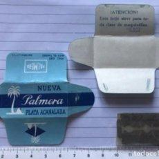 Antigüedades: CU 15 CUCHILLA DE AFEITAR NUEVA PALMERA PLATA ACANALADA MODELO 16 HOJA. Lote 235730015