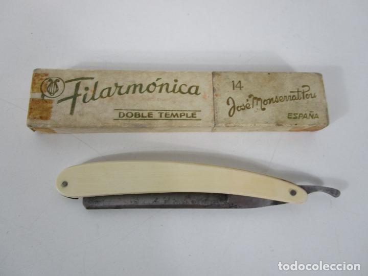 NAVAJA DE AFEITAR FILARMÓNICA 14, DOBLE TEMPLE - JOSÉ MONTSERRAT POU (Antigüedades - Técnicas - Barbería - Navajas Antiguas)