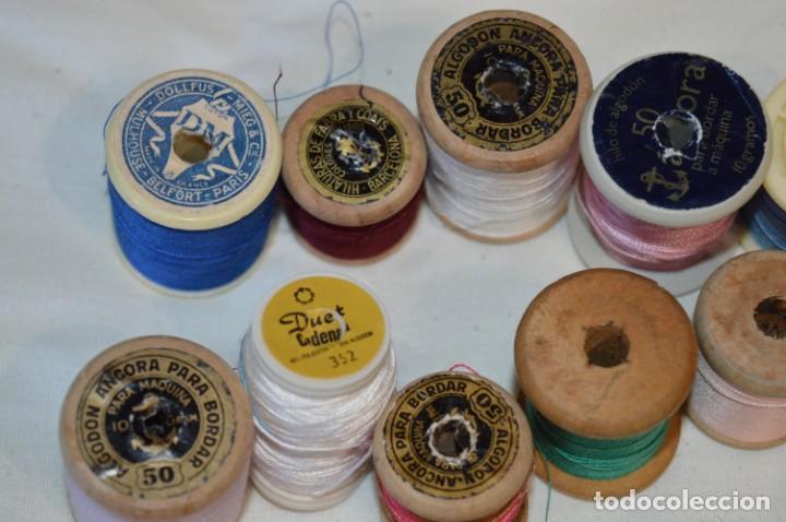 Antigüedades: Antiguas / Vintage - Lote BOBINAS de HILO variadas / Para coser, bordar, ojalar y otras ¡Mira fotos! - Foto 13 - 235933315