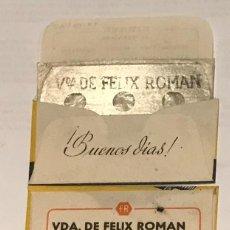 Antigüedades: CUCHILLA DE AFEITAR RARA PUBLICIDAD FERRETERIA VIUDA DE FÉLIX ROMÁN MADRID HOJA. Lote 236024875