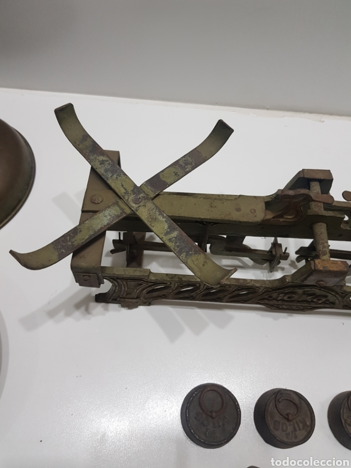Antigüedades: ANTIGUA BALANZA DE ULTRAMARINOS CON PESAS - Foto 23 - 236097620