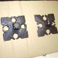 Antigüedades: 2 GRANDES CLAVOS SIGLO XVII, DECORADOS, HIERRO FORJA. Lote 236504935
