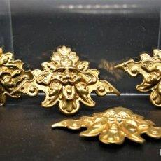 Antigüedades: APLIQUES MUEBLES. MASCARON DORADO. 4 PIEZAS. ESQUINAS DE MARCOS. Lote 256124350
