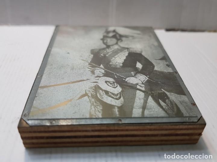 Antigüedades: Tampon Metalico-Cliche Imprenta metalico Fotografía Militar a Caballo creo Francés - Foto 2 - 236828050