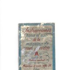 Antigüedades: ALFA INSTRUCCIONES PARA USO MAQUINA DE COSER Y BORDAR. MODELO B. BOBINA CENTRAL. EIBAR.. Lote 236926730