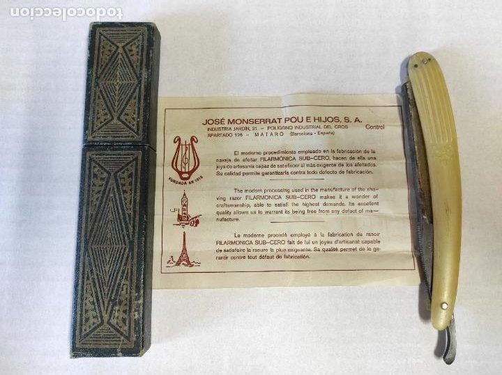 Antigüedades: Navaja de Barbero - Filarmónica 14 Sub Cero - José Montserrat Pou - con Caja y Instrucciones - Foto 8 - 237081105
