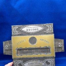 Antigüedades: PRECIOSO CUÑO DE IMPRENTA GRANDE DE PUBLICIDAD DE TABACO RECORD. Lote 237574920