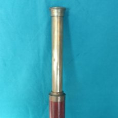 Antigüedades: CATALEJO ANTIGUO DE METAL Y CAOBA. Lote 237934625