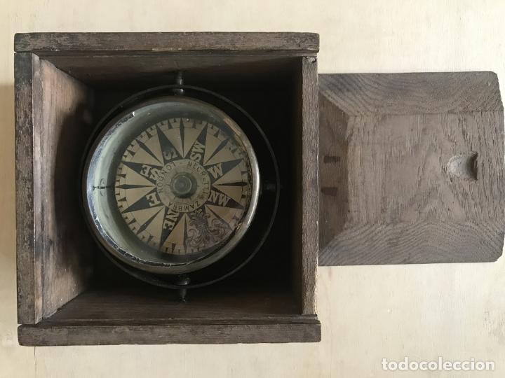 Antigüedades: Brújula náutica en su caja de madera, finales siglo XIX. Negretti & Zambra - Foto 9 - 238476245