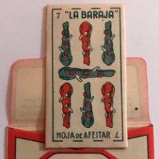 Antigüedades: CUCHILLA DE AFEITAR LA BARAJA SIETE 7 DE BASTOS. 0,25 PTAS. HOJA. Lote 238723235