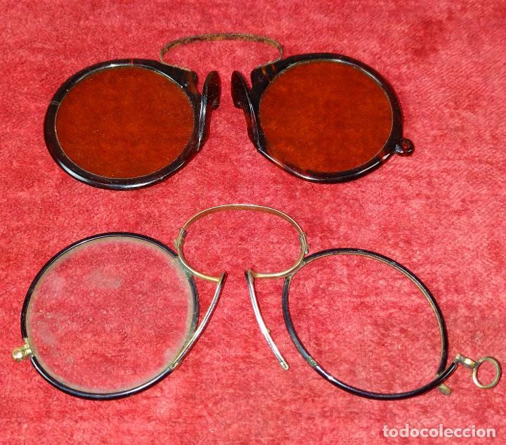 GAFAS. DE SOL Y DE AUMENTOS. METAL. CELULOIDE SÍMIL CAREY. ESPAÑA SIGLO XIX-XX (Antigüedades - Técnicas - Instrumentos Ópticos - Gafas Antiguas)