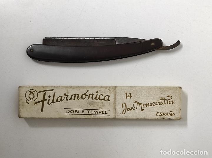 NAVAJA DE AFEITAR FILARMÓNICA 14, DOBLE TEMPLE - JOSÉ MONTSERRAT POU - CON CAJA ORIGINAL (Antigüedades - Técnicas - Barbería - Navajas Antiguas)