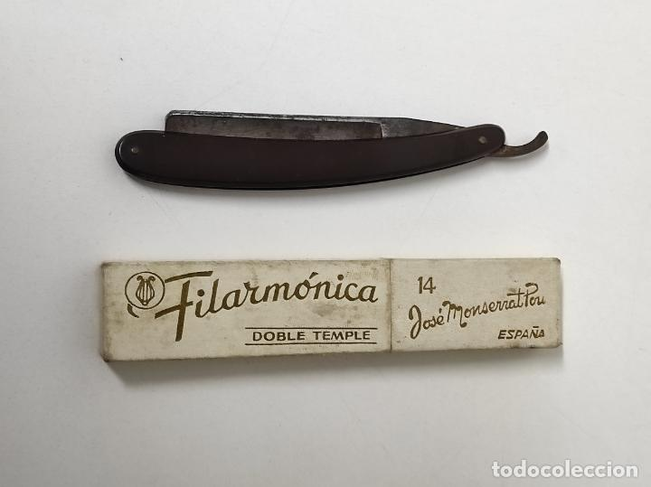 Antigüedades: Navaja de Afeitar Filarmónica 14, Doble Temple - José Montserrat Pou - con Caja Original - Foto 9 - 239016995