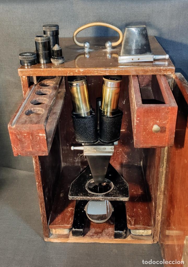 INTERESANTE MICROSCOPIO MARCA NACHET, PARIS (Antigüedades - Técnicas - Instrumentos Ópticos - Microscopios Antiguos)
