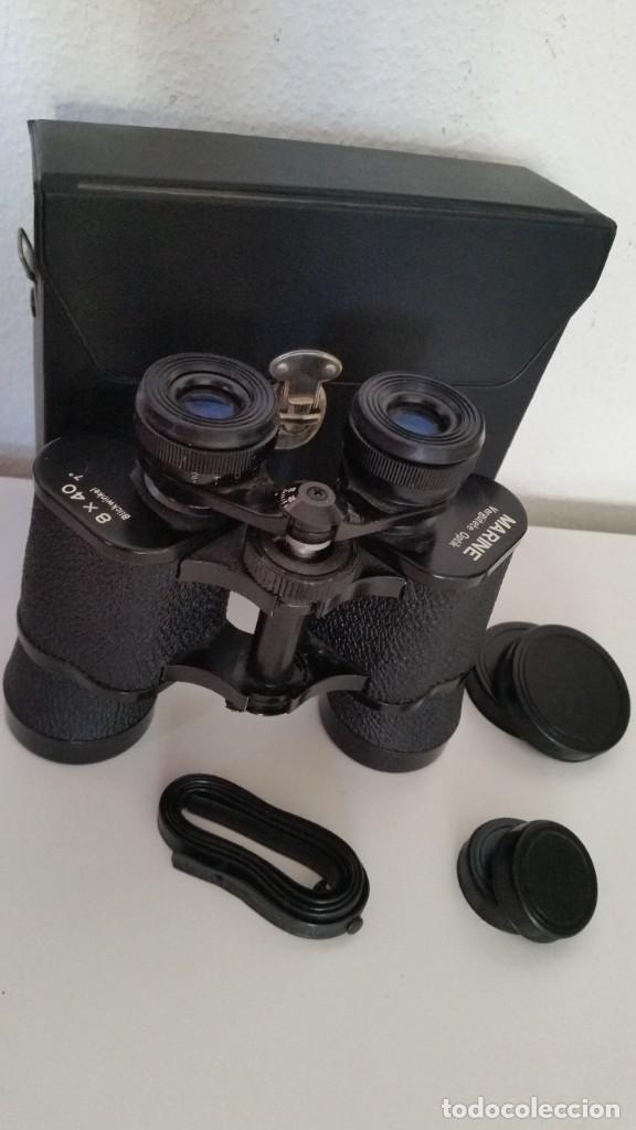 BINOCULES MARINE VERGUTETE OPTIK 8X40,BLICKWINKEL 7°POCO USO COMO NUEVOS CAJA ORIGINALE (Antigüedades - Técnicas - Instrumentos Ópticos - Binoculares Antiguos)