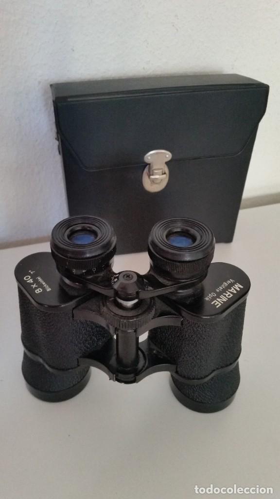 Antigüedades: BINOCULES MARINE VERGUTETE OPTIK 8X40,Blickwinkel 7°Poco Uso como Nuevos Caja Originale - Foto 2 - 240007345