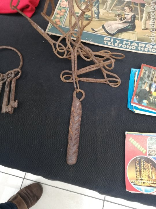 Antigüedades: Muy Antiguo tirador de Campana hierro forjado - Foto 2 - 240058875
